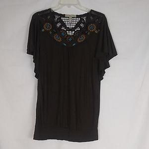 American Rag brown lacy blouse. Size Medium